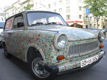 Eastern European Trabant vintage car, plastered with postage stamps Stock Image
