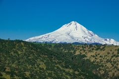 Eastern flank of Mount Hood in Oregon. Eastern side of snow covered Mount Hood in Oregon Stock Photo