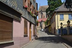 The street of Ribeauvillé village. Wine road of Alsace. Eastern France. Alsace region. A beautiful village named Ribeauville on the famose Wine road. It has Stock Photos