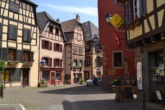 The street of Ribeauvillé village. Wine road of Alsace. Eastern France. Alsace region. A beautiful village named Ribeauville on the famose Wine road. It has Royalty Free Stock Image