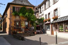 The street of Ribeauvillé village. Wine road of Alsace. Eastern France. Alsace region. A beautiful village named Ribeauville on the famose Wine road. It has Royalty Free Stock Images