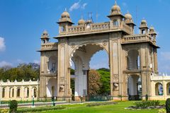 The Eastern gate of the Mysore Palace Stock Photo