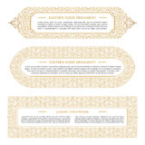 Eastern gold arabic vector lines design templates. Muslim floral frame for card and postcard Royalty Free Stock Photography