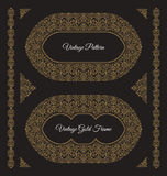 Eastern gold arabic vector lines design templates. Muslim floral frame for card and postcard Stock Photography
