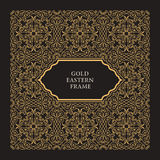 Eastern gold arabic vector lines design templates. Muslim floral frame for card and postcard Royalty Free Stock Photos