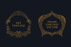 Eastern gold arabic vector lines design templates. Muslim floral frame  Royalty Free Stock Photography