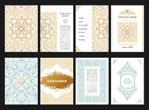 Eastern gold arabic vector lines design templates. Muslim floral frame for card and postcard Stock Images