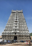 Eastern Gopuram of Thiruvannamalai temple. THIRUVANNAMALAI, INDIA - OCTOBER 9, 2014: Eastern Gopuram of and main entrance to Thiruvannamalai temple. Seen from stock photos
