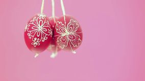 Eastern handmade traditional eggs hanging on rope Stock Images