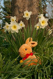 Eastern Hare - Vertical. Eastern Hare with Narcissus in a garden Stock Image