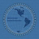 Eastern hemisphere concept on denim texture background. Vector illustration. Western hemisphere map on a jeans texture background. Vector illustration royalty free illustration