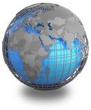 Eastern Hemisphere on Earth. Eastern Hemisphere on a grey geographic net enveloping Earth, on white background royalty free illustration