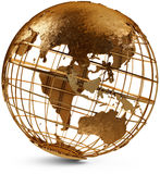 Eastern Hemisphere Globe. Metal globe showing the Eastern Hemisphere on a white background Royalty Free Stock Photo
