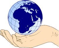 Eastern hemisphere of the planet earth in hand. Eastern hemisphere globe of the planet earth in hand - Europe and Africa, world in hand stock illustration