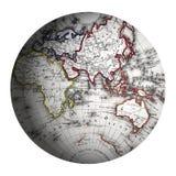 Eastern Hemisphere World Globe. Illustration of Eastern Hemisphere modified from 19th century Antique map Stock Photos