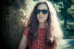 Eastern hipster vintage woman with shades Royalty Free Stock Photos