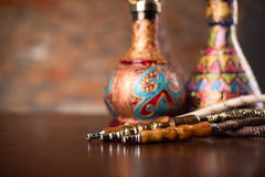 Eastern hookahs on wood table. Close up Stock Image