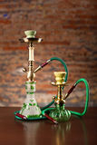 Eastern hookahs on wood table. Close up Stock Photo