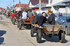 Eastern of the horses row. Every March, the Bulgarian community in Targoviste city of Romania celebrates the Eastern of the horses. People thank the horses for Royalty Free Stock Photos