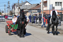 Eastern of the horses village. Every March, the Bulgarian community in Targoviste city of Romania celebrates the Eastern of the horses. People thank the horses Royalty Free Stock Images