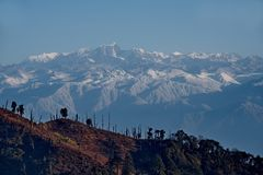 View of the snow-covered Himalayas from a height of 3250m stock photo