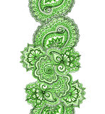Eastern indian design with paisley. Green spring banner frame. Stock Image