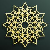 Golden Arabian ornament on a dark background. Eastern Islamic framework. Vector illustration. stock illustration