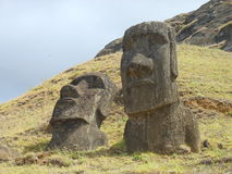 Eastern Island, Chile. View of statues, named moais of Eastern Island, Chile Royalty Free Stock Images