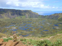 Eastern Island. View of vulcan Rano Kau with a lake inside, at Eastern island, Chile Stock Photography