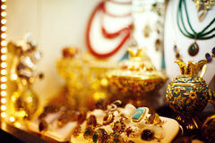 Eastern jewelry market with rings Royalty Free Stock Images