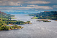 Eastern Kyle of Bute. The Kyles of Bute, also known as Argyll's Secret Coast, in the Firth of Clyde, seen here on the eastern Kyle with the Isle of Arran in the Stock Photo