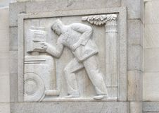 `Eastern Mailman` by Edmond Amateis, Robert N.C. Nix, Sr. Federal Building & Post Office. Pictured is a granite relief sculpture, `Eastern Mailman`, by Edmond royalty free stock photography