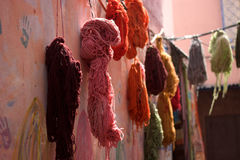 Eastern market. Colorful wool hung to dry Stock Photography