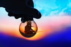 Eastern martial art Kendo, double exposure, fighter in a light bulb stock image