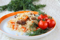 Eastern meal pilaf Royalty Free Stock Images