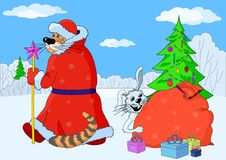 Eastern New Year cartoon, Rabbit and Tiger. Cartoon: White Rabbit and White Tiger, a symbols of the eastern New Year and Christmas tree with gifts vector illustration