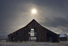 Eastern Oregon Barn In Snow Storm Royalty Free Stock Photography