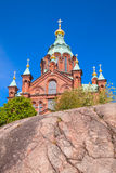 Eastern Orthodox cathedral in Helsinki, Finland. Uspenski Cathedral is an Eastern Orthodox cathedral in Helsinki, Finland, dedicated to the Dormition of the royalty free stock photography