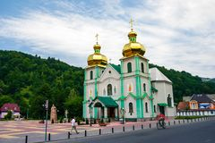 The Eastern Orthodox Church of the holy spirit. Rakhiv, Ukraine - JUL 21, 2012: The Eastern Orthodox Church of the holy spirit. beautiful scenery in Carpathian royalty free stock photos
