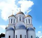 Eastern orthodox crosses on gold domes stock images