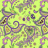 Eastern patterns seamless green. Colorful seamless with eastern patterns on green background Royalty Free Stock Photos