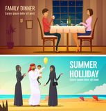 Eastern People Design Compositions. With arab family in traditional costumes at south sea background and couple having dinner in restaurant flat vector Royalty Free Stock Photos