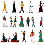 Eastern People Set. Eastern people male and female decorative icons set  vector illustration Stock Photos