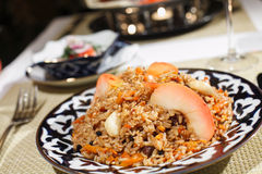 Eastern pilaf. Indian rice dish made from basmati rices, spices, and fresh vegetables Stock Photo