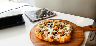 Eastern pizza, Dubai royalty free stock image
