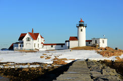 Eastern Point Lighthouse, Cape Ann, Massachusetts. Eastern Point Lighthouse in winter, Cape Ann, northeastern Massachusetts, USA. This historic lighthouse was royalty free stock photos
