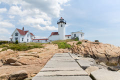 The Eastern Point Lighthouse in Gloucester stock photography