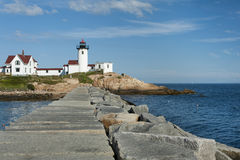 Eastern Point Lighthouse View from Jetty, in Gloucester, Massach. Visitors can walk along the nearly mile long jetty to get a clear view of Eastern Point Royalty Free Stock Photos