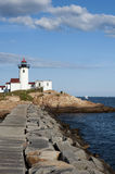 Eastern Point Lighthouse View from Jetty Stock Photo