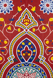 Eastern red fabric. With multicolored design Royalty Free Stock Photography